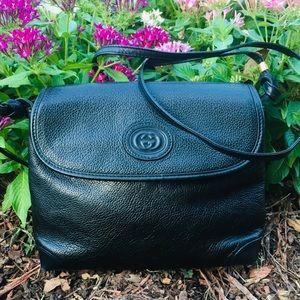 Gucci Black Pebbled Leather Crossbody Bag